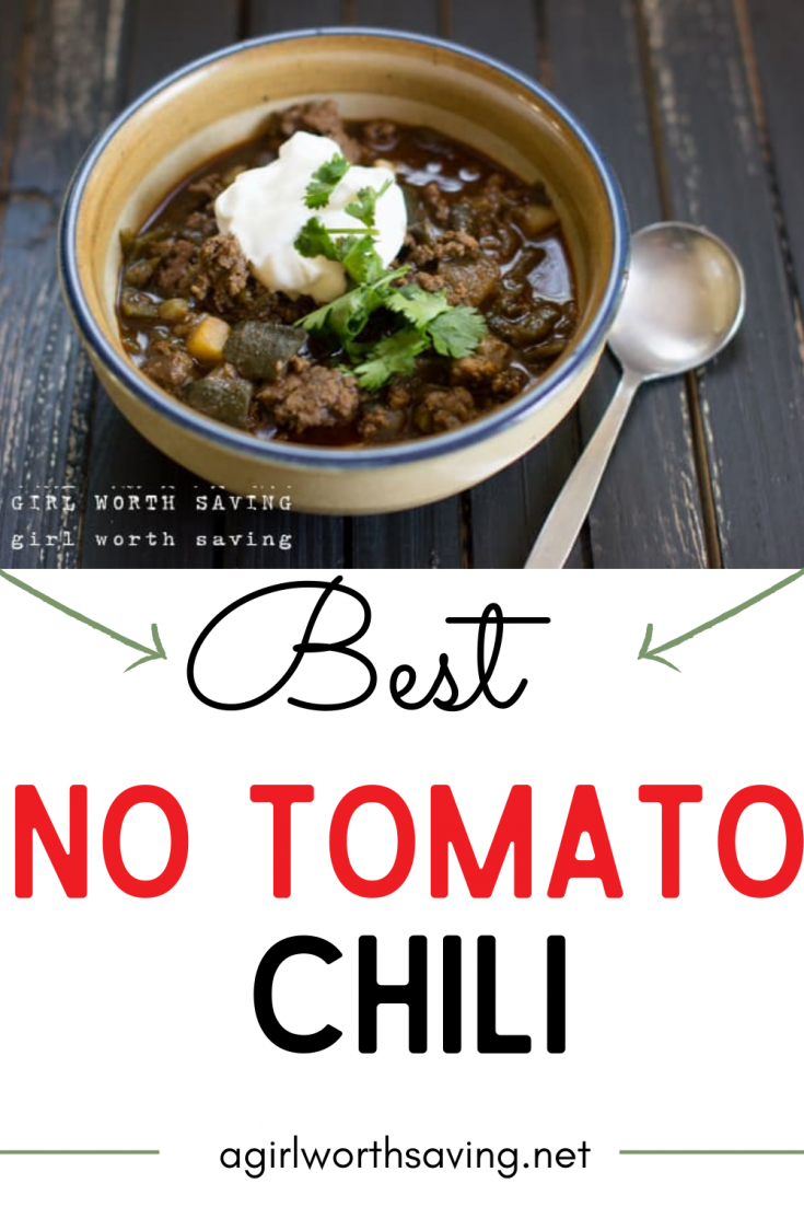 Looking for a chili without tomatoes? This no tomato chili is savory and hearty and filling. This easy recipe make the perfect lunch or dinner.