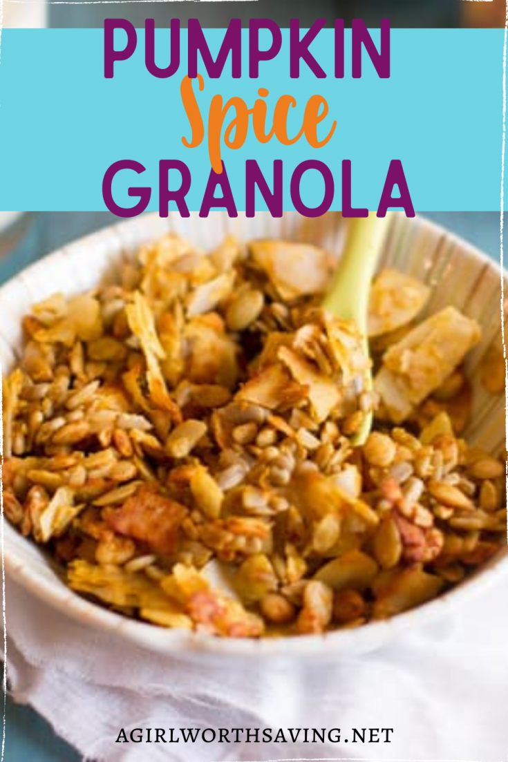 This homemade pumpkin spice granola recipe is a delicious breakfast treat. Made with pumpkin seeds and coconut shreds, it's a healthy snack too!
