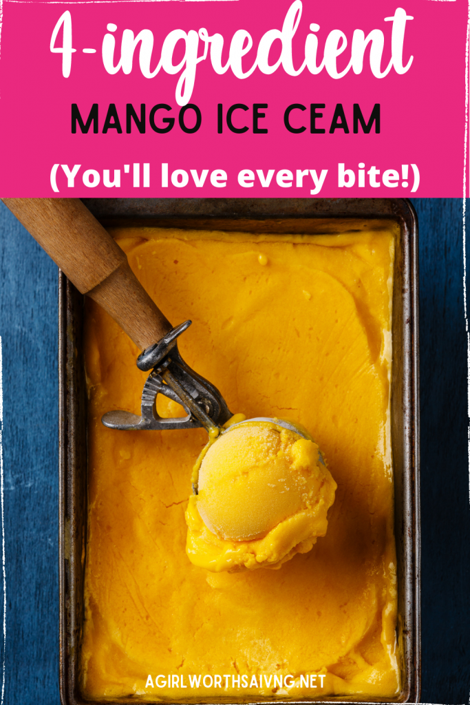 4 ingredient mango ice cream in a container
