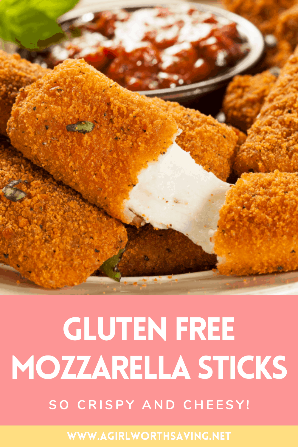 These gluten free mozzarella sticks are so cheesy and crispy, you'll have a hard time believing they're actually homemade!
