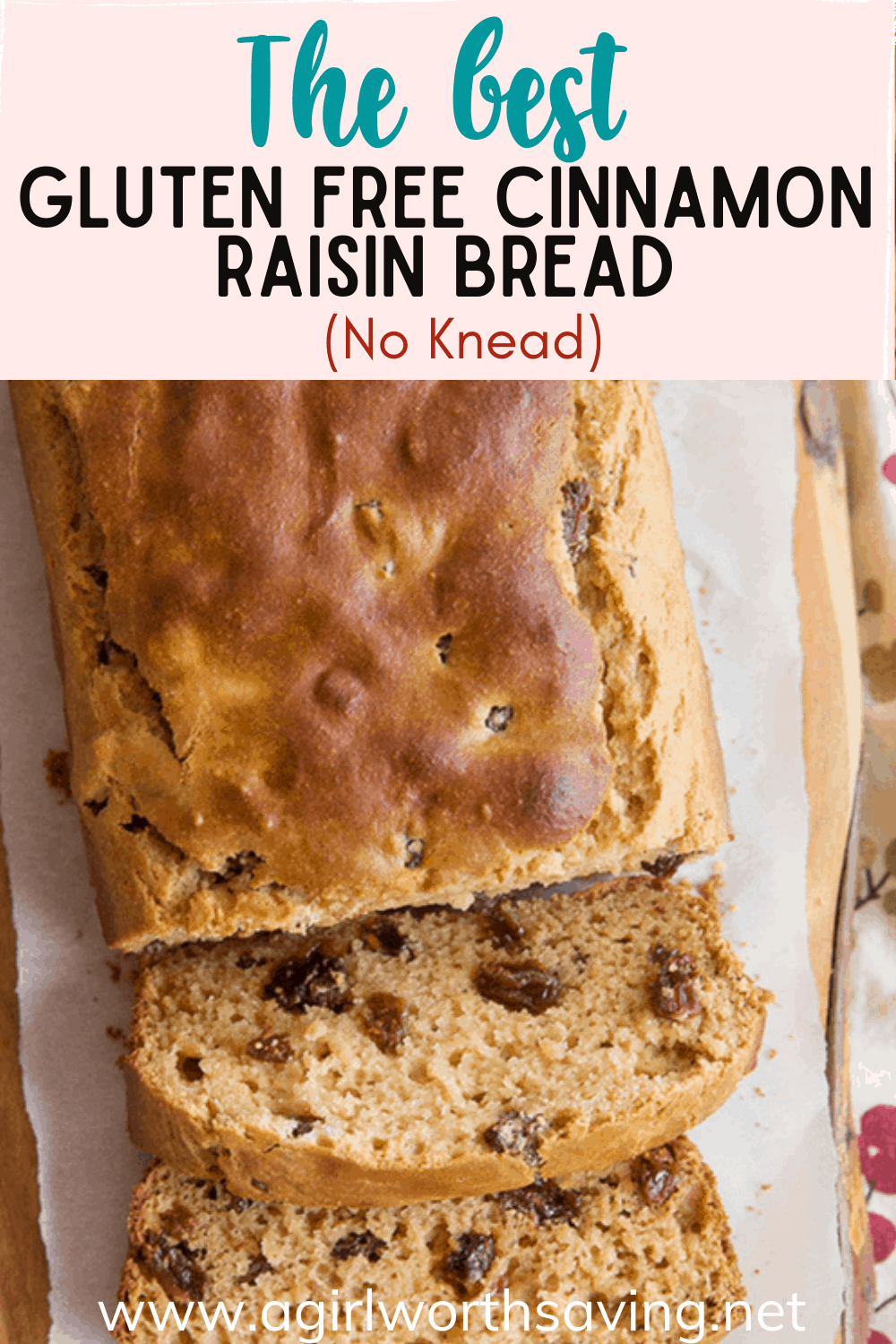 There is just nothing like a slice of this Gluten Free Cinnamon Raisin Bread (No Knead) for breakfast! Top with jam or butter for a special treat.