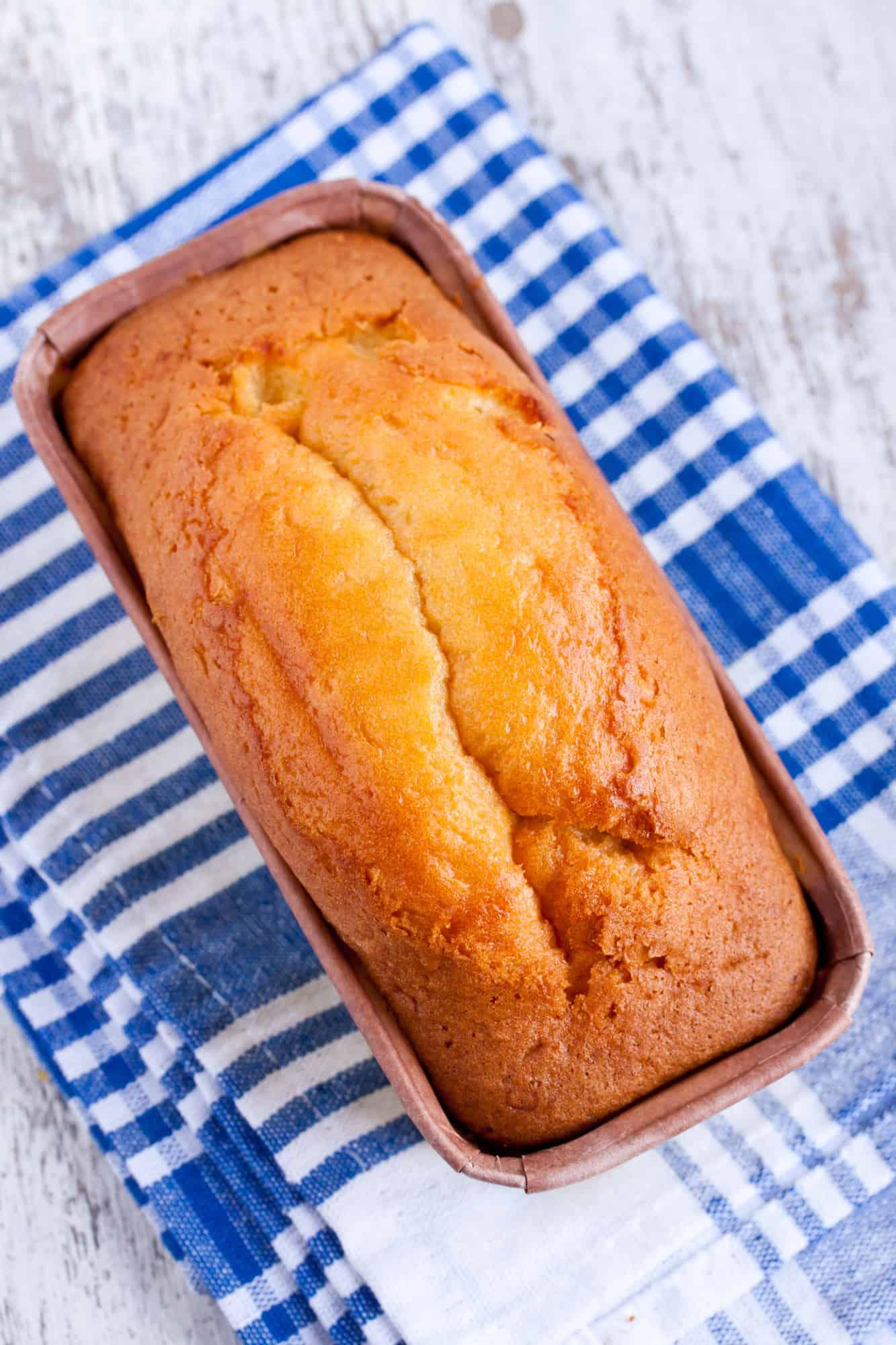 gluten free pound cake in a baking pan