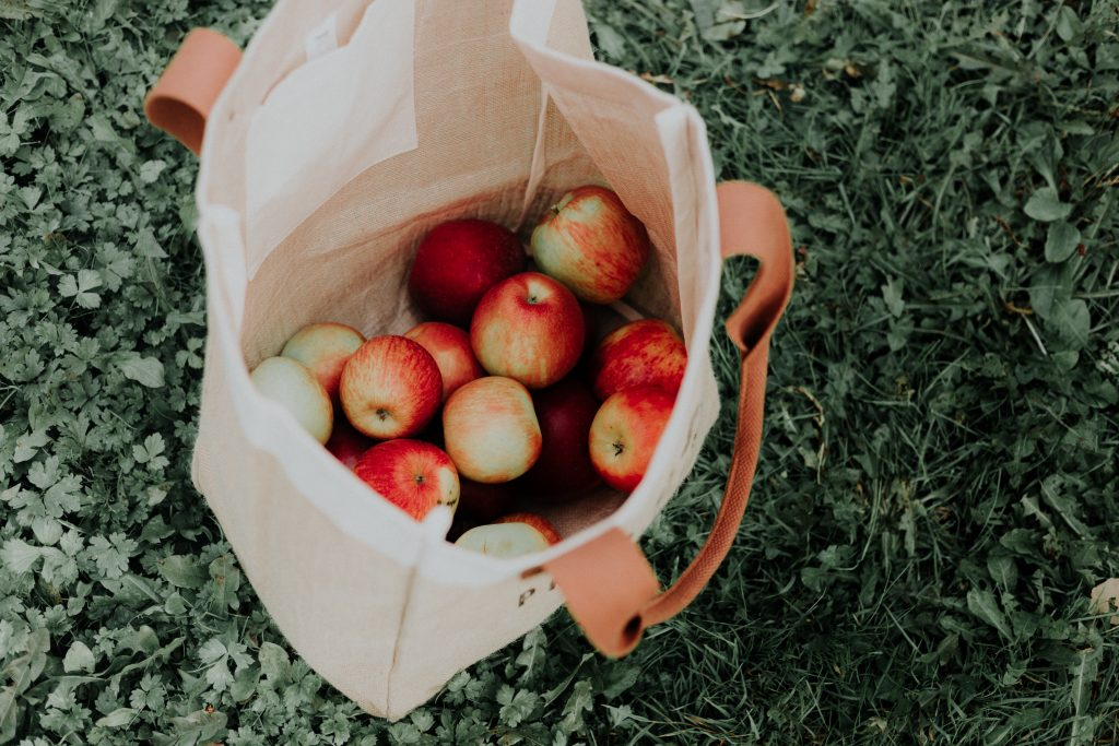 Bag of apples that were picked from an apple farm
