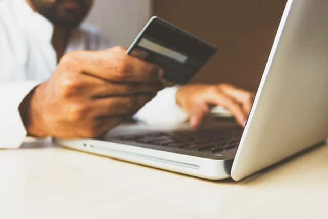 Man entered credit card information on to store on his laptop.