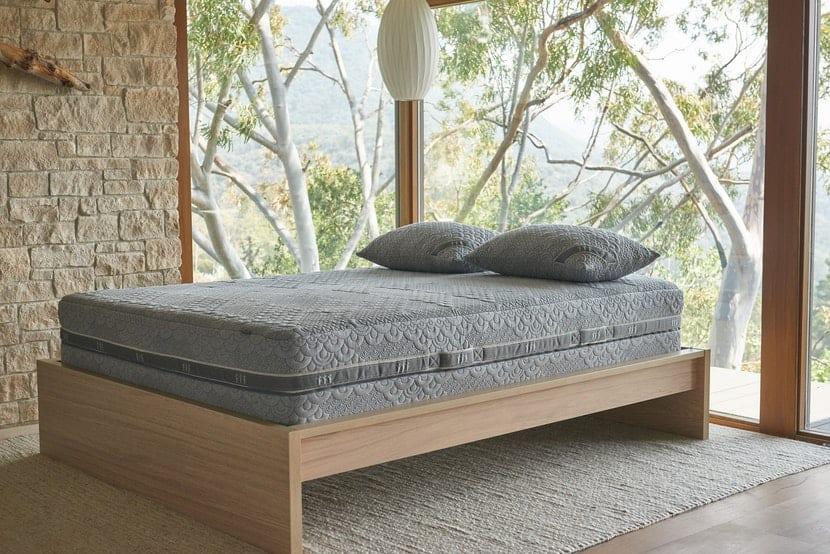 Brentwood Home Crystal Cove mattress on a platform bedframe