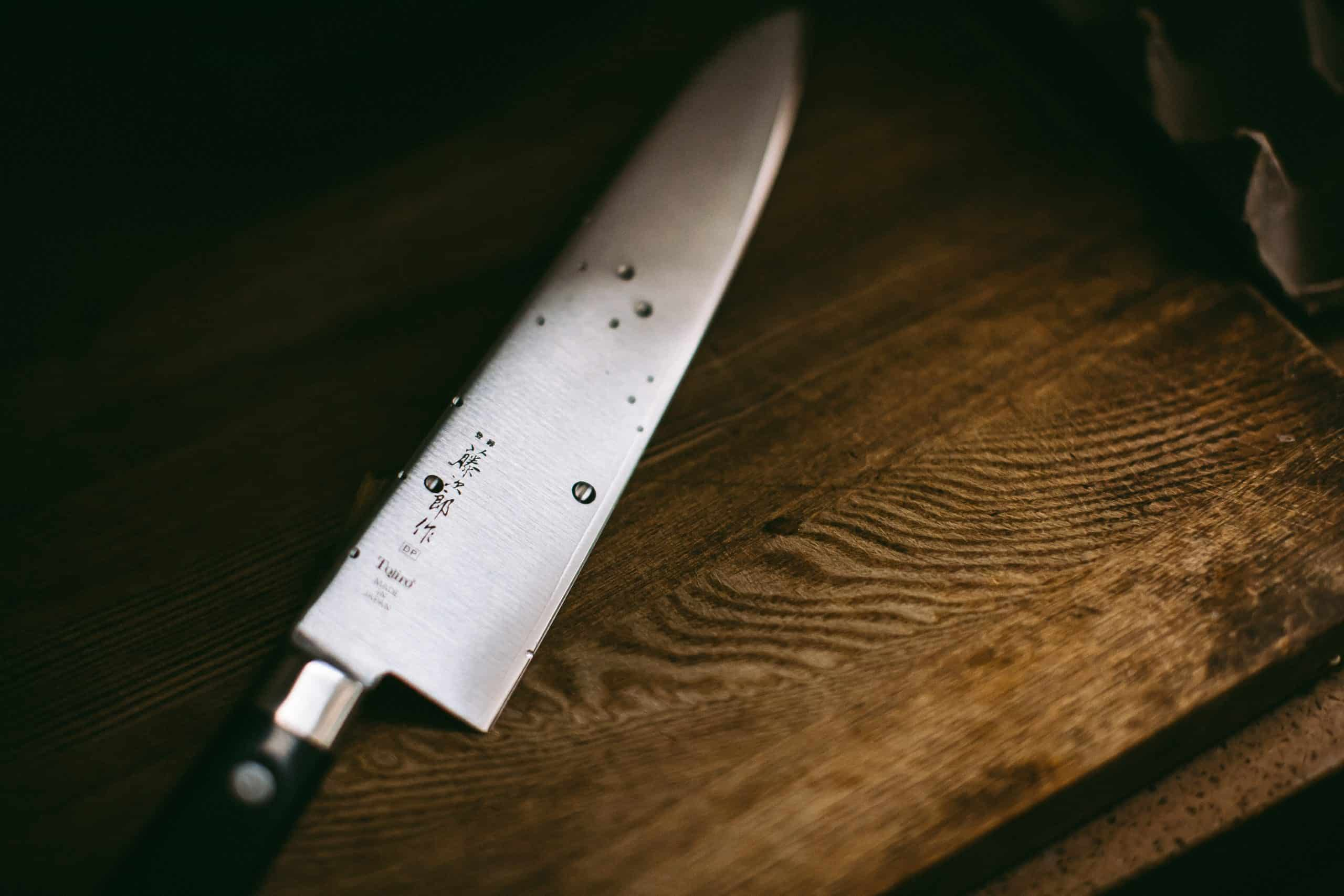 knife on butcher block