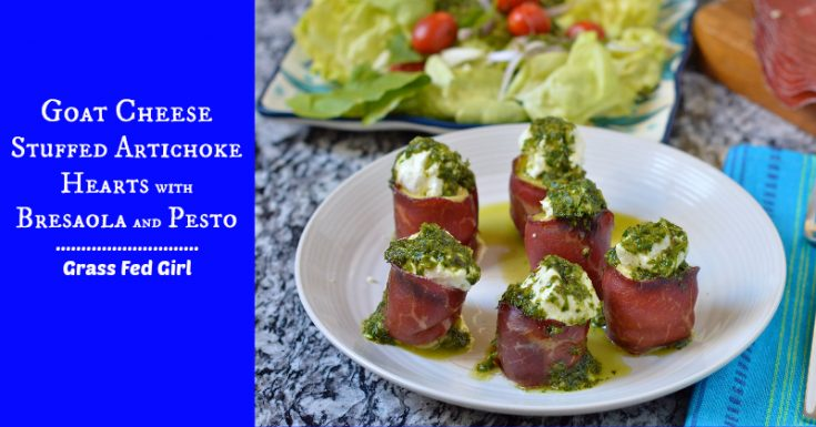 Paleo Appetizer: Goat Cheese Stuffed Artichoke Hearts with Beef Bresaola and Pesto Sauce