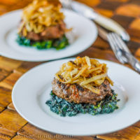 Cajun Burgers with Carmelized Onions and Spinach