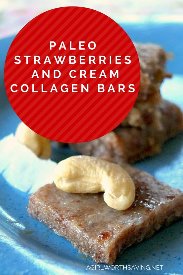 Paleo Strawberries and Cream Collagen Bars