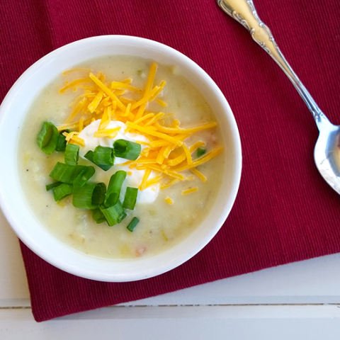Slow cooker loaded baked potato soup, gluten free - A Girl Worth Saving