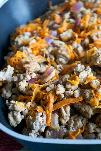 Pork, Sweet Potato and Red Onion Hash