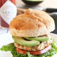 Bacon Avocado Ranch Chicken Burger with TABASCO® Sauce