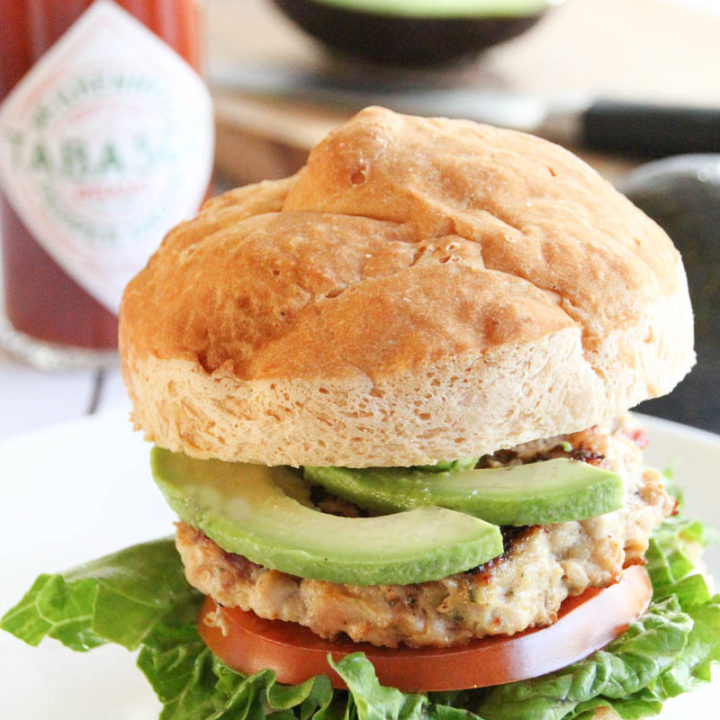 Bacon Avocado Ranch Chicken Burger with TABASCO® Sauce