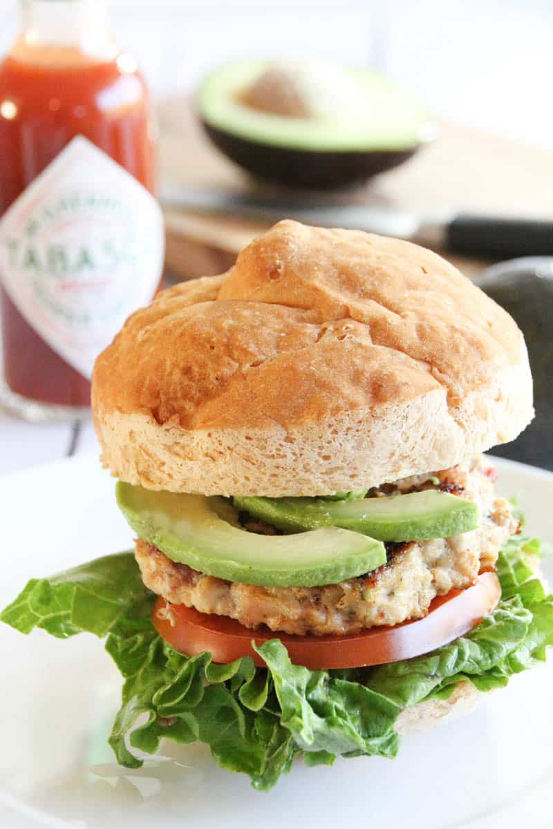 Bacon Avocado Ranch Chicken Burgers with TABASCO® Sauce