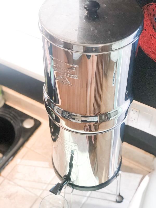 Royal Berkey Water Filter on a counter in this berkey water filter review