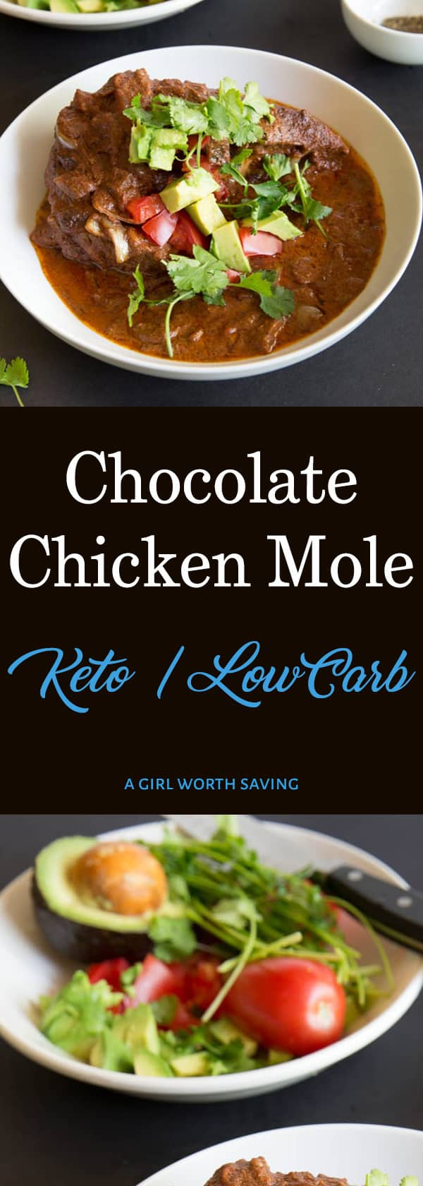 Chocolate, cinnamon and almond butter make this chicken mole authentic as well as low carb and Keto! This Mexican recipe is smokey and slightly bitter.