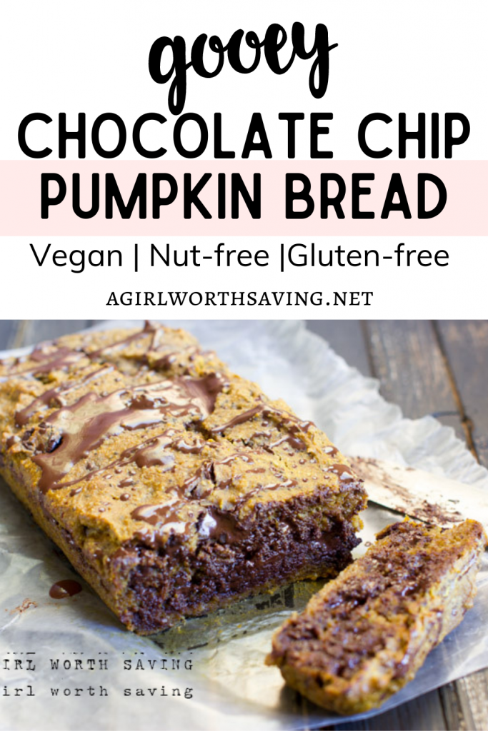 This chocolate chip pumpkin bread has a soft, delicious gooey center that will wow your tastebuds. It's vegan, nut-free and gluten-free so anyone can enjoy it!
