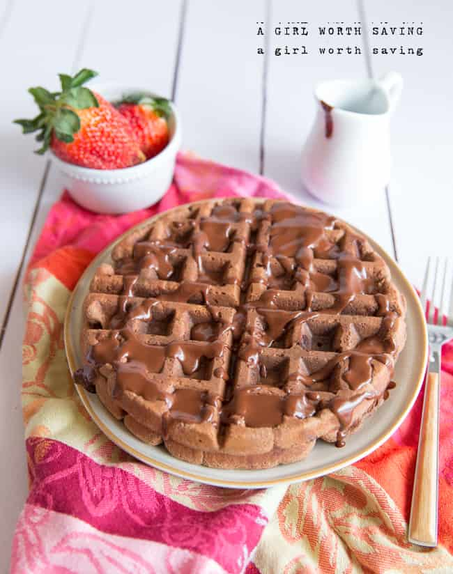 "... chocolate sauce all over those Paleo chocolate waffles."" Yes. Yes, I"