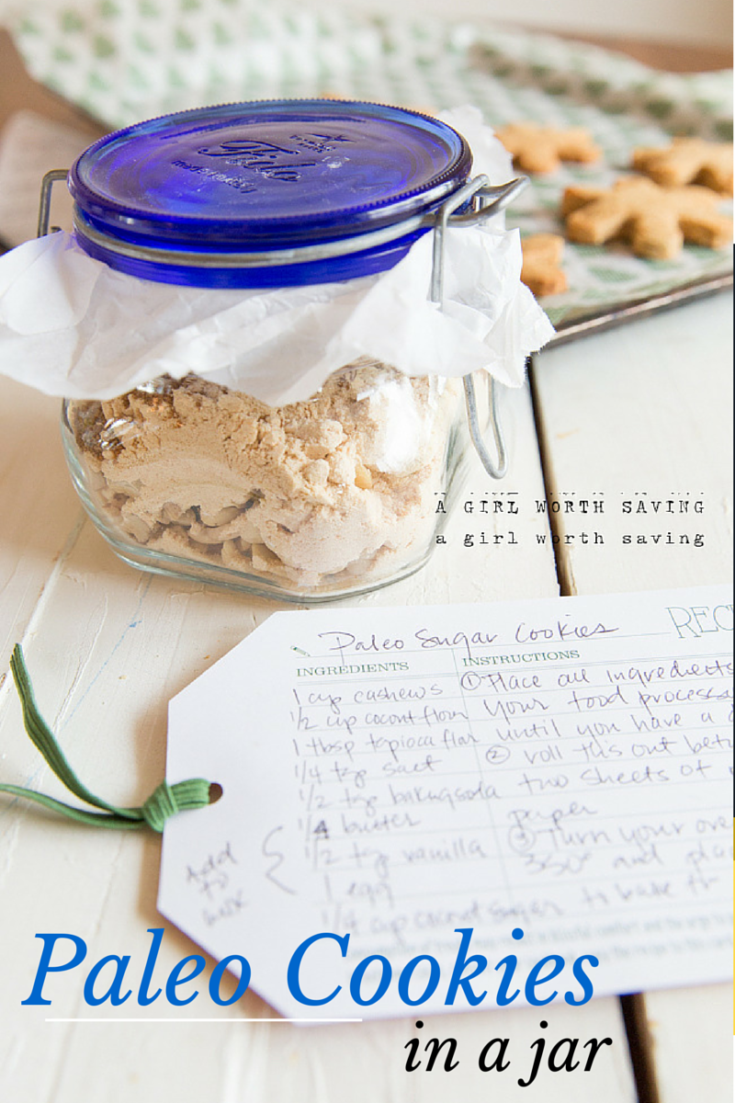It's not a holiday without sugar cookies and it's even better when you get them as gift you can easily make in a jar.  This recipe for Paleo cookies in a jar is crazy simple. you basically dump the container in your food processor with the noted items to add and whiz until you have a dough.