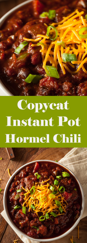 Want a copycat Hormel Chili recipe that you can whip up in your Instant Pot? This gluten-free recipe is sure to please more most die hard chili fan!