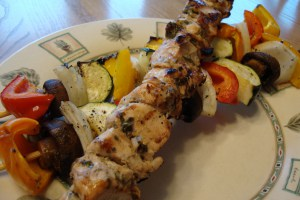 Mustard and Herb Marinated Chicken Kebobs with Grilled Vegetables