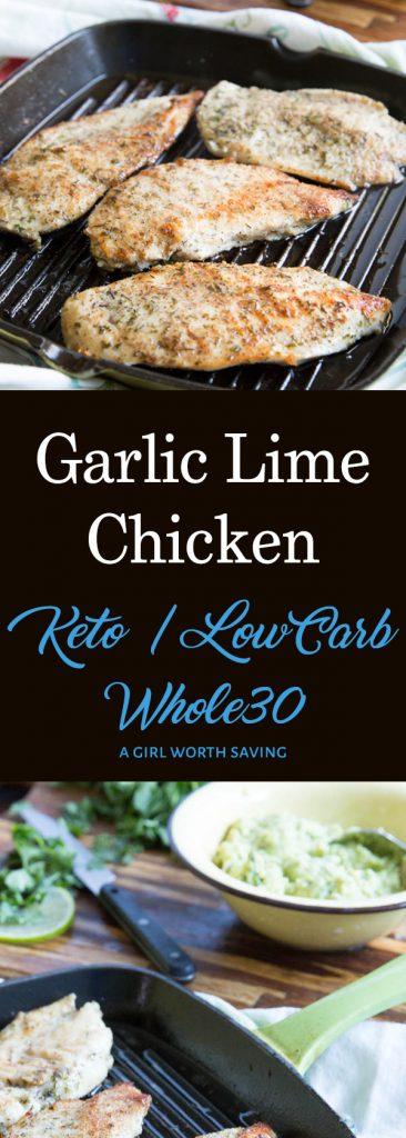 grilled garlic lime chicken on a skillet