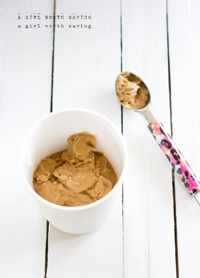 Gingerbread Ice Cream in an ice cream container with an ice cream spoon