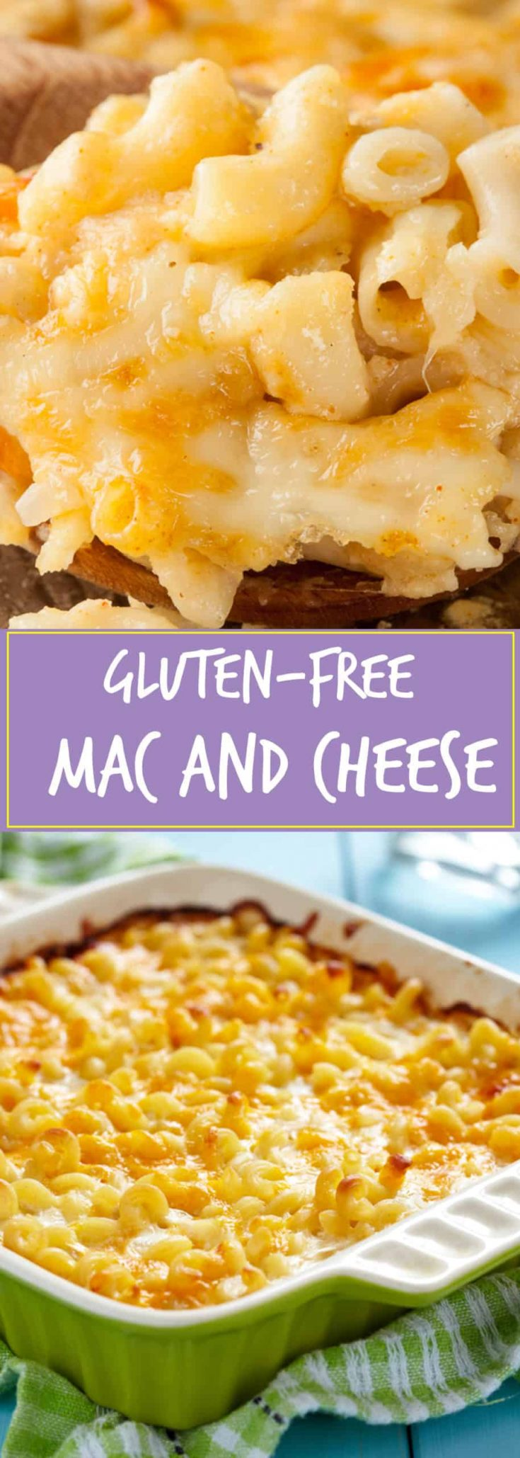 One bite of this gluten-free mac and cheese will satisfy your comfort food fix. This baked side dish is filled with rich cheddar cheese and Parmesan cheese!