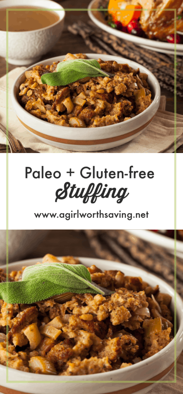 This gluten free stuffing is the perfect side dish for your holiday. Warm bits of bacon, onion, mushrooms, and celery make this holiday favorite extra delicious.