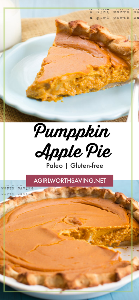 This gluten-free pumpkin apple pie features pumpkin puree, apple butter and honey.   Everyone will love the twist on this old classic and it's even better the next day!