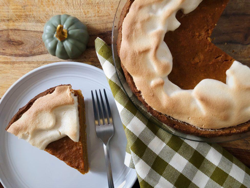 sweet potato pumpkin pie on a plate