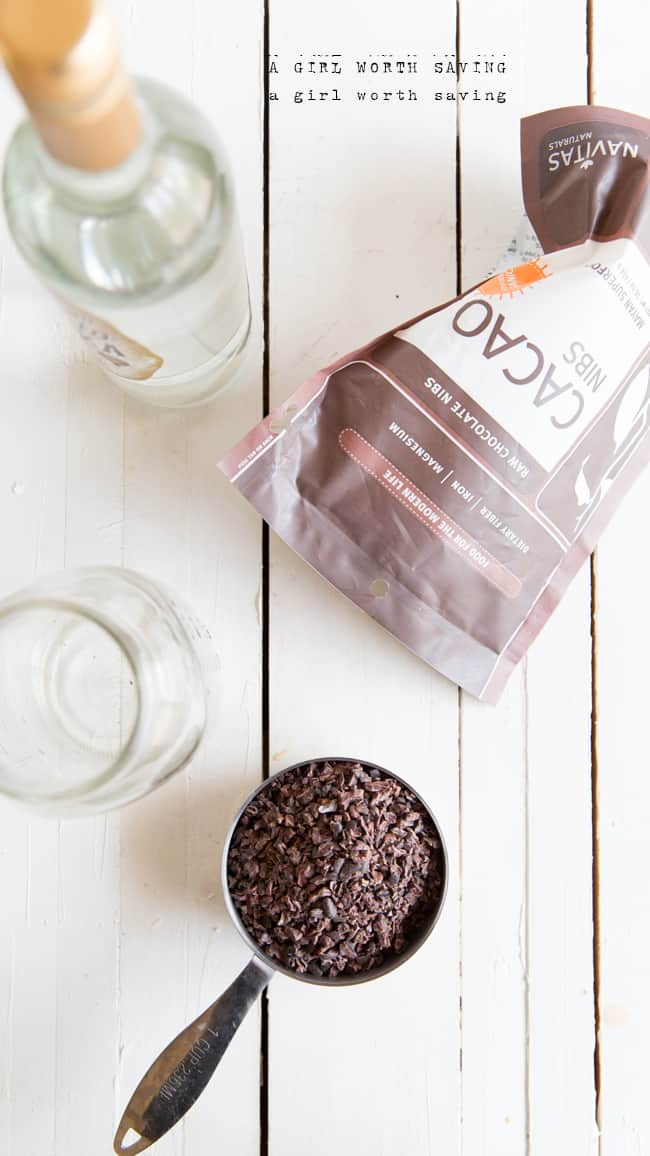 Ingredient that you need to make chocolate vodka - cacoa nibs and gluten free vodka