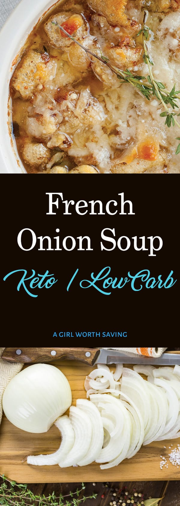 Stay warm with this Keto French onion soup! With beef stock base, slow-cooked caramelized onions, pork rings, Gruyere and Parmesan cheese. Is there anything more comforting on a chilly day than a hot bowl of French onion soup?