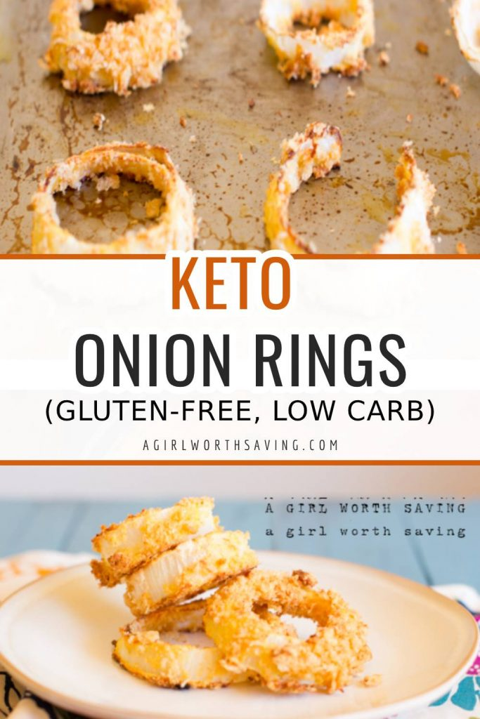 Keto Onion Rings on a baking sheet and plate