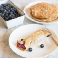 Low Carb Crepes with Blueberry Cream Cheese Filling