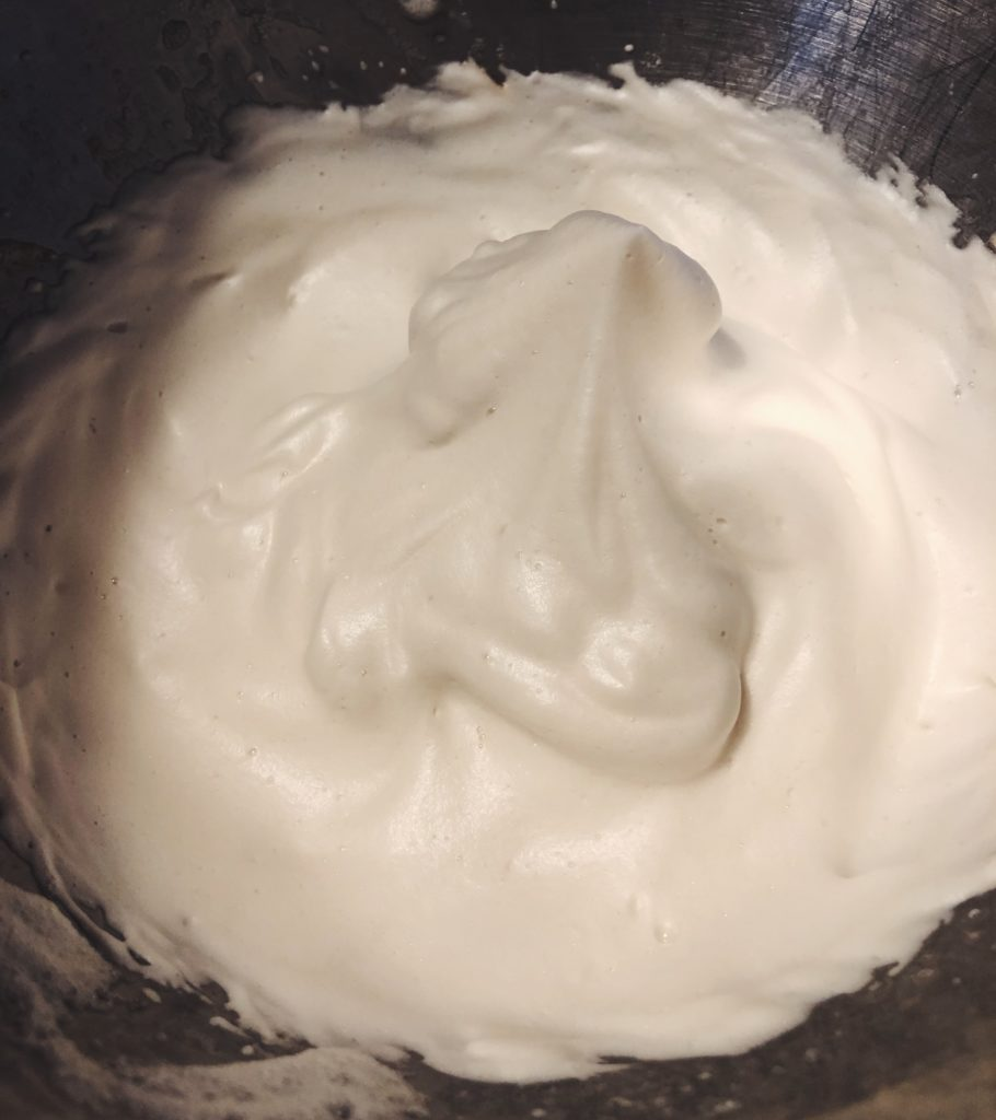 Whipped meringue in a bowl