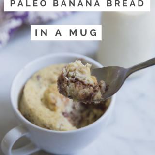 paleo banana bread in a mug