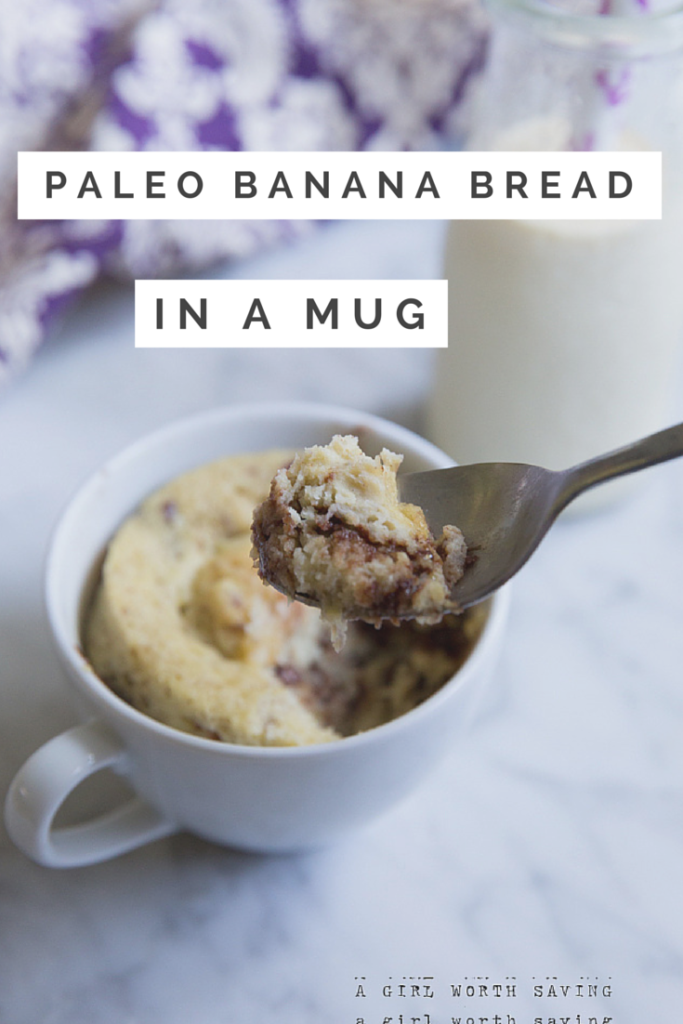 paleo banana bread in a mug