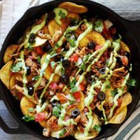 Paleo Chicken Skillet Nachos with Avocado Sauce