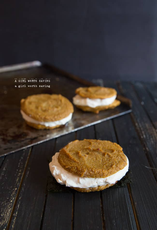 Ok first off, I made these pumpkin whoopie pies way too big.  The cookie is filling as heck.  You will feel like your stomach will explode if you try to eat one this big in one sitting.