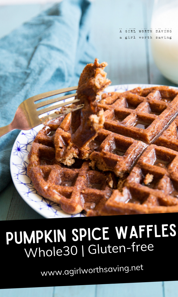 Anyhow, back to the pumpkin spice waffles. We're off of nuts and starches right now and I had a hankering for a fun waffle recipe, so voila! this recipe was born.