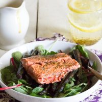 Creamy ginger dressing with grilled salmon and roasted asparagus