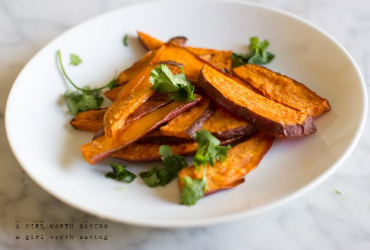 Crispy Roasted Sweet Potatoes Fries with Lime and Cilantro